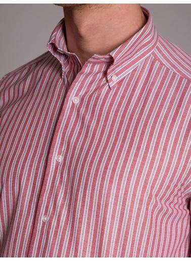 Dufy Grı Çızgılı Erkek Gömlek - Regular Fıt Kırmızı